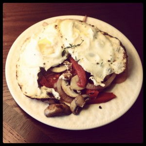 Eggs with Sauteed Portobellos, Roasted Bell Pepper and Red Onion